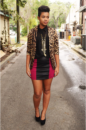 leopard blazer - chiffon top - leather skirt - suede pumps