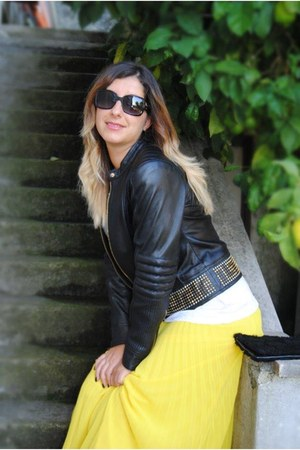 yellow Relish skirt - black Zara boots - black brishoes boots