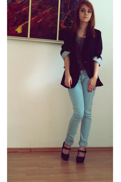 black blazer - light blue Bershka jeans - dark brown pull&amp;bear shirt