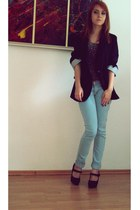 black blazer - light blue Bershka jeans - dark brown pull&bear shirt