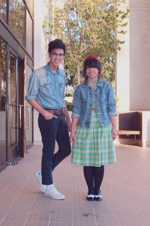 black Levis jeans - blue H&M shirt - green Target dress - white Converse shoes -