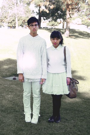 white petticoat American Apparel skirt - white nike shoes - white sweater