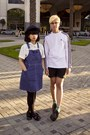 black creeper Demonia shoes - navy overall Cherokee dress - white adidas shirt