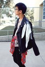 Black-leather-h-m-jacket-tan-unicorn-forever-21-shirt-red-plaid-forever-21-s
