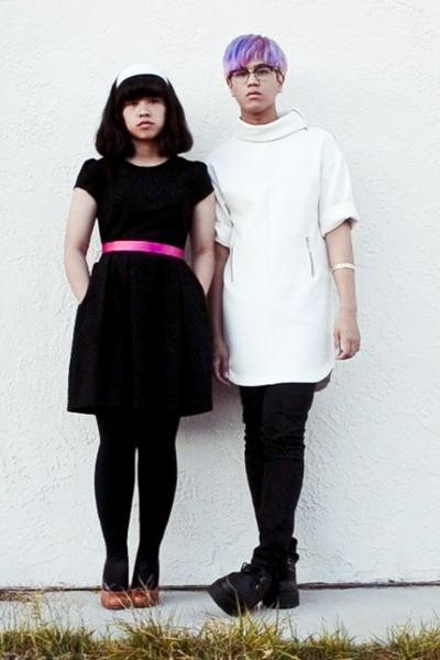 black Zara dress - white Zara dress