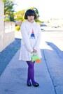 White-t-shirt-bubble-gum-shirt-purple-tights-chartreuse-bag-black-pants