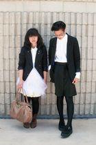 black H&M blazer - white Forever 21 dress - brown unknown brand boots - black ni