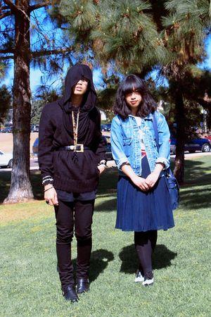 black Forever 21 scarf - black Levis jeans - blue jacket - white Forever 21 shoe