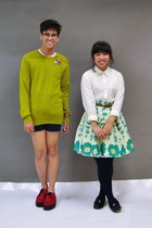 chartreuse H&M sweater - red creeper Demonia shoes - white Ralph Lauren shirt