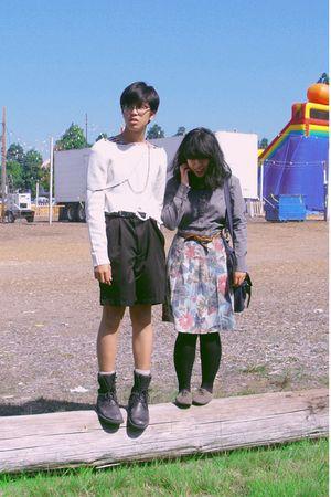 black shorts - blue skirt - black boots - gray a shirt - white H&M sweater - bro