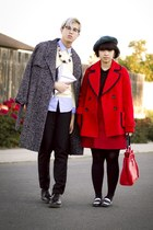red Forever 21 coat - gray H&M coat - light yellow talbots sweater