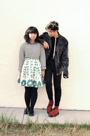 red creeper shoes - black H&M jacket - navy striped American Apparel shirt - mag