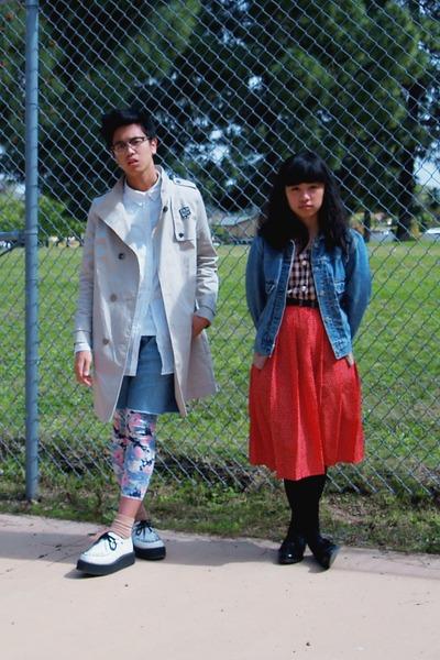 white creeper TUK shoes - off white trench H&M coat - blue denim jacket - purple