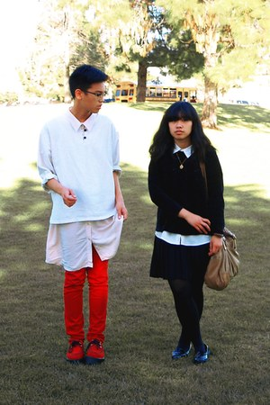 red TUK shoes - eggshell shirt cotton on dress - red Levis jeans - black thrifte