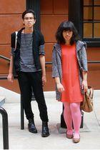 brown kohls shoes - orange moms Nordstrom dress - gray Forever 21 sweater