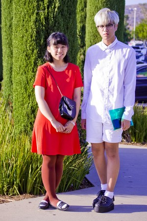 white button up H&amp;M shirt - black shoes shoes - orange dress - tawny HUE tights