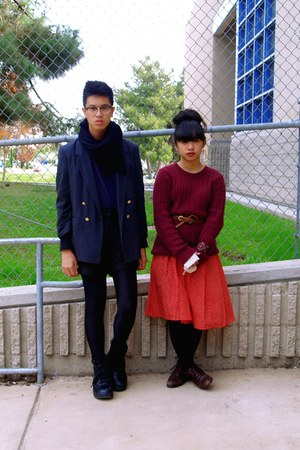 navy Grandmas jacket - red skirt - maroon sweater - black H&amp;M shorts