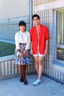 Red-blazer-white-shirt-light-pink-h-m-shorts-sky-blue-floral-skirt-coral