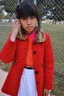 Carrot-orange-dress-dark-brown-aeropostale-sweater-hot-pink-collared-shirt-