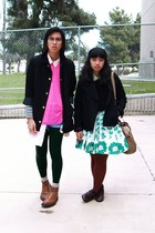 black jacket - green Forever 21 leggings - navy striped H&M shirt - bubble gum m