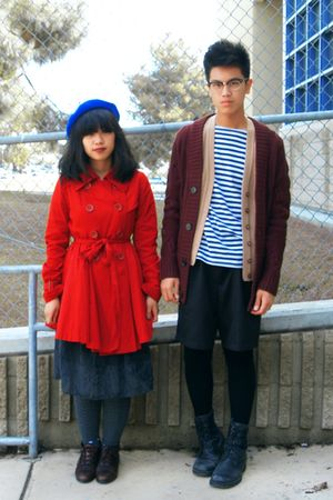 red coat - gray dress - red sweater - gray tights - black shorts - black socks