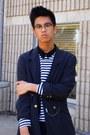 Black-coat-navy-jeans-dark-gray-blazer-mustard-shirt-navy-striped-shirt-