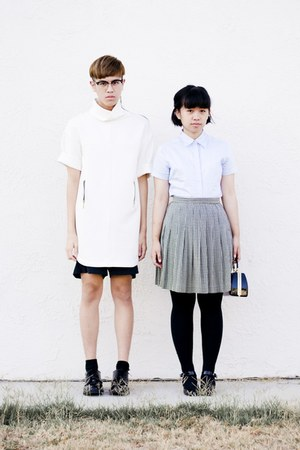 light blue collar thrift shirt - white Zara dress - black nike shorts