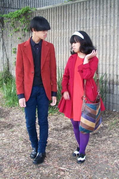 red Macys blazer - orange unknown brand dress - red Forever 21 coat