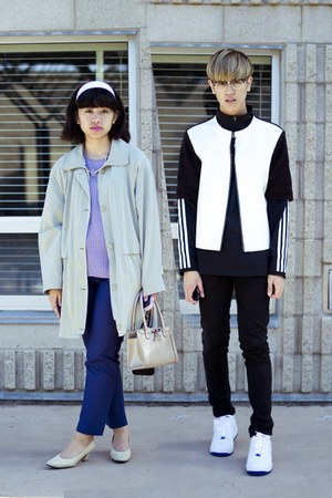 white Marni at H&M jacket - navy H&M pants
