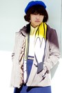 Light-brown-american-apparel-coat-blue-h-m-hat-yellow-h-m-scarf