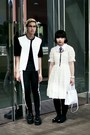 White-anthropologie-dress-black-marni-at-h-m-jacket