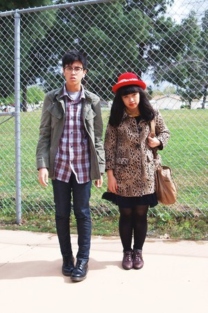 camel leopard H&M coat - navy Levis jeans - red hat - army green Urban Outfitter