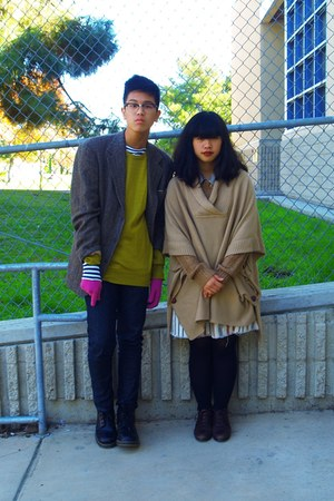 chartreuse H&M sweater - camel H&M sweater - magenta gloves - brown cardigan