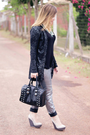 silver wax coated H&amp;M jeans - black Aldo bag - black H&amp;M top