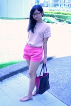 peach asos top - hot pink shopper bag Furla bag - bubble gum shorts - beige belt