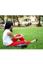 red Marcs pants - black shopper bag Furla bag