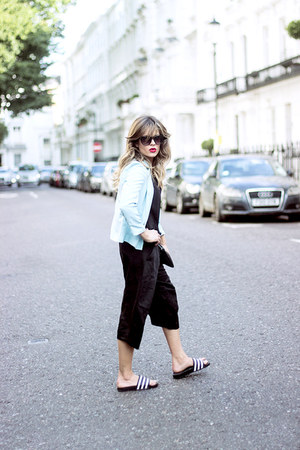 black Zara pants - light blue River blazer - black Adidas flats