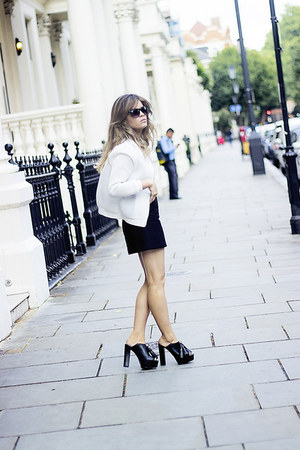 black Zara heels - white Topshop jacket - black Mango skirt