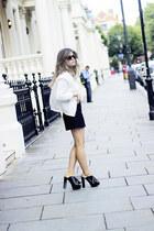 black Zara heels - white Topshop jacket - black Mango skirt