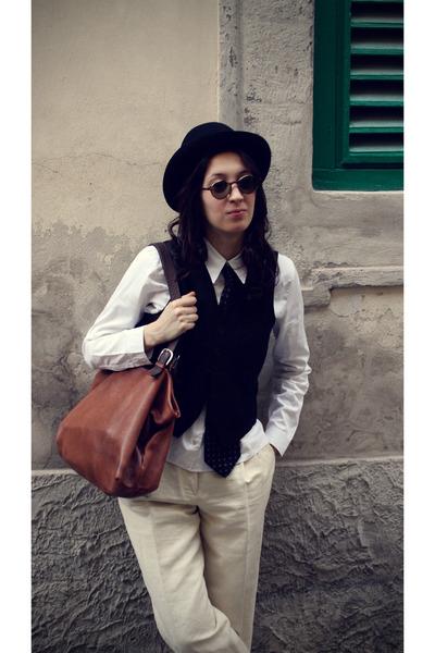 black vintage hat - black vintage vest - blue Waterville tie - white Miu Miu shi