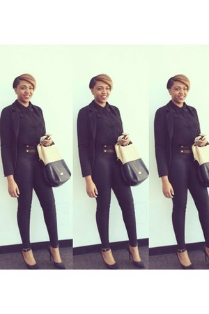 black Forever 21 blazer - black Aldo bag - black H&M blouse - black Guess heels