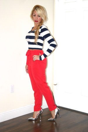 blue Love Culture top - red Forever 21 pants