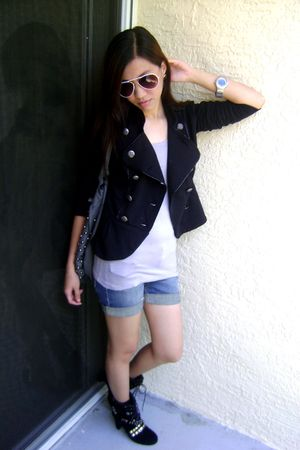 black blazer - white sunglasses - black boots