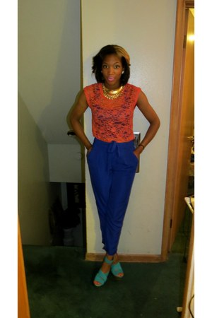 lace Forever 21 shirt - satin Forever 21 pants - Bakers wedges