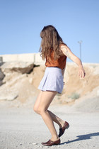 light blue American Apparel shorts - burnt orange silk button up vintage blouse