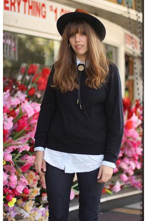 dark brown vintage hat - navy Nudie jeans - black wool vintage sweater