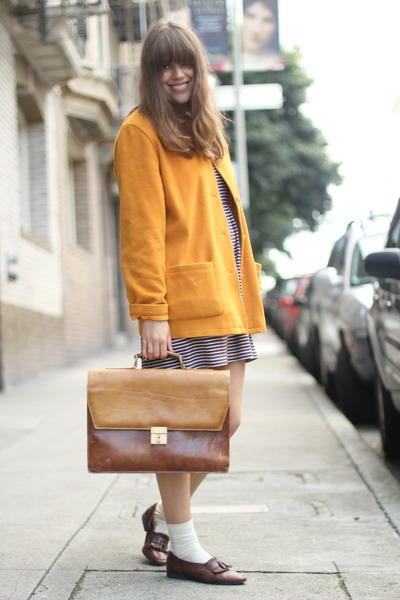 mustard wool vintage coat - off white striped vintage dress - brown vintage bag