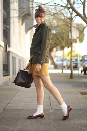 waxed canvas vintage jacket - wallgreens socks - suede mini vintage skirt