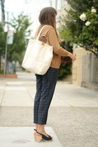 navy vintage plaid pants - white tote ethanmade bag - tan wool vintage cardigan