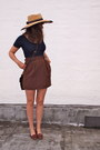 Thrifted-vintage-hat-brown-leather-coach-bag-altered-thrifted-vintage-skirt-